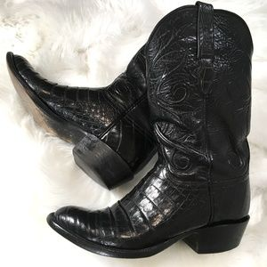 LUCCHESE Caiman Crocodile Black 8 Cowboy Boots TS5